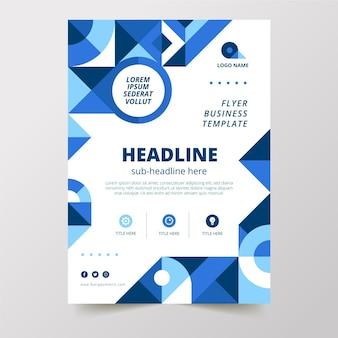 Flat geometric vertical business flyer template