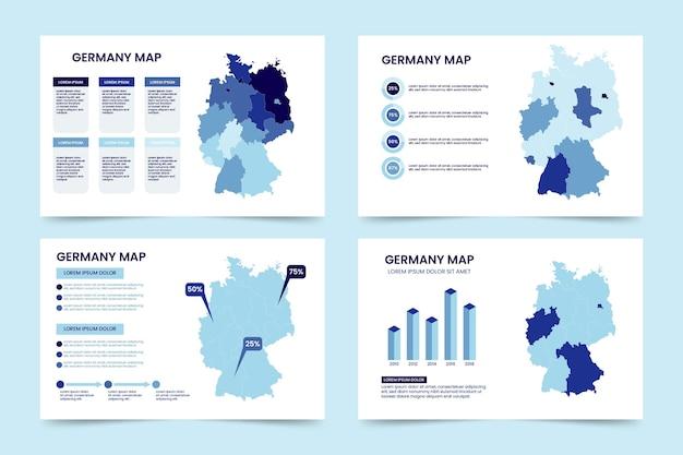 フラットドイツ地図インフォグラフィック