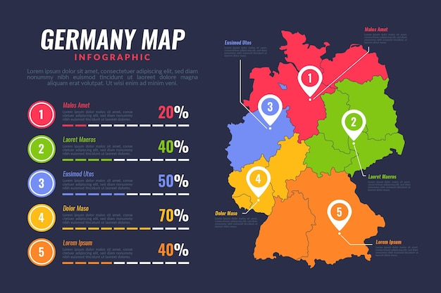 Flat germany map infographic