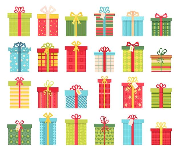 리본 활이 있는 평평한 선물 상자, 생일이나 크리스마스 선물. 만화 패키지 포장 디자인. 겨울 휴가 장식 벡터 집합입니다. 고립 된 이벤트 축 하에 서프라이즈