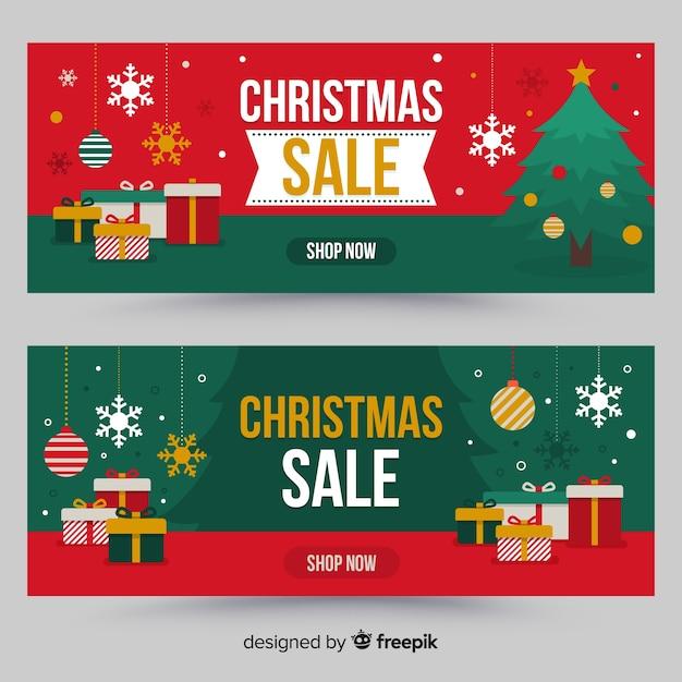 Flat gift christmas sale banner