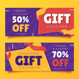 Flat gift voucher banners set