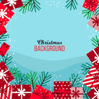 Flat gifts christmas background