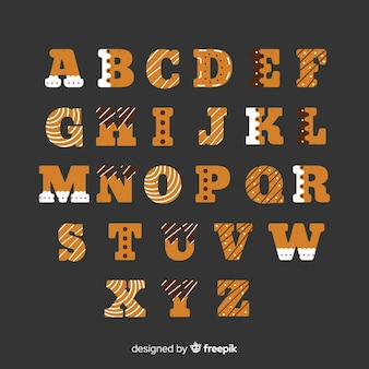 Flat gingerbread alphabet