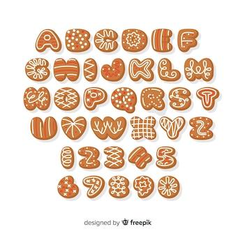 Flat gingerbread alphabet