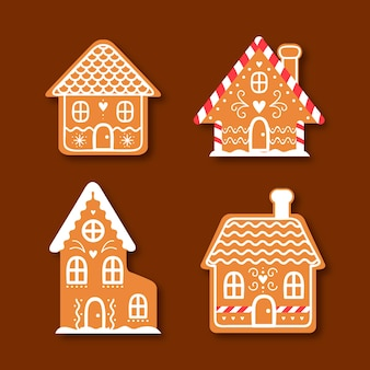 Flat gingerbread house collection on brown background