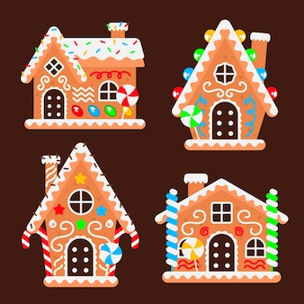 Flat gingerbread house collection