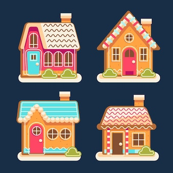 Flat gingerbread houses collection