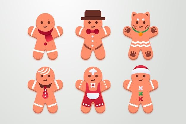フラットジンジャーブレッドマンクッキーコレクション