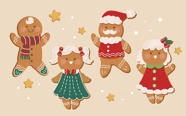 Flat gingerbread man cookie collection