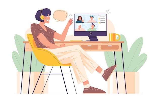 オンラインで友達と話しているテーブルでヘッドフォンでフラットな女の子。グループビデオ会議やクライアント、同僚との集合的な仮想チームビルディングのためにコンピューターを使用して自宅で仕事をしている若い女性。