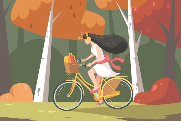 フラットな女の子の自転車に乗るイラスト