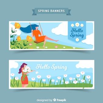 Flat girl spring banner
