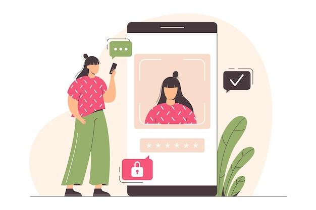 스마트폰을 가진 납작한 소녀가 사람의 얼굴을 스캔하여 잠금을 해제합니다.