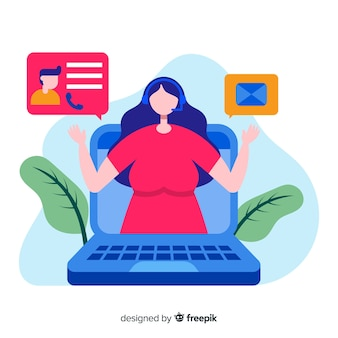 Flat girl working in a call center background