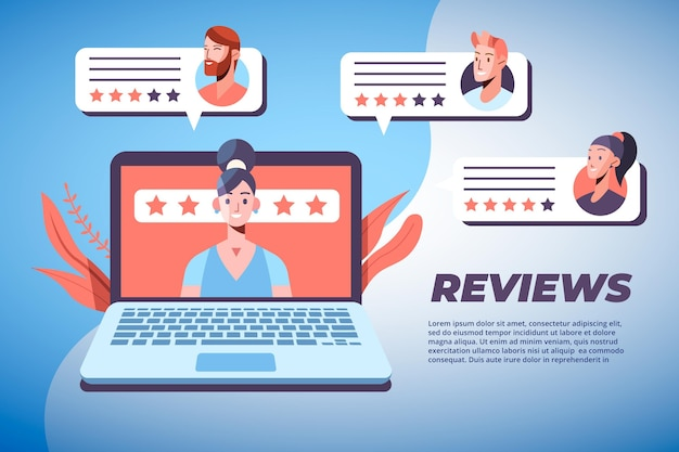 Flat giving reviews concept