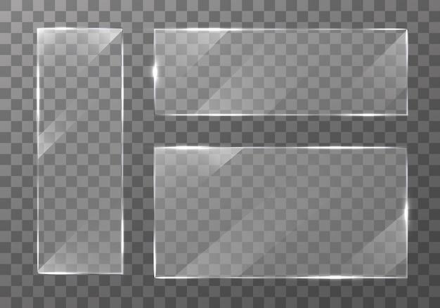 평면 유리 접시 배너. 투명 배경에 설정합니다. 투명 유리 쇼케이스. 패널 텍스처 또는 명확한 창. 사진이나 거울에 대한 조명 효과. 사실적인 창