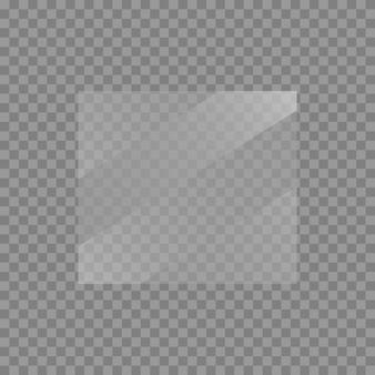 板ガラスセット。透明な背景のwindowsバナー。反射3dプレート、透明ミラー、窓。キラキラ長方形ディスプレイグレアガラスフレーム。ベクター