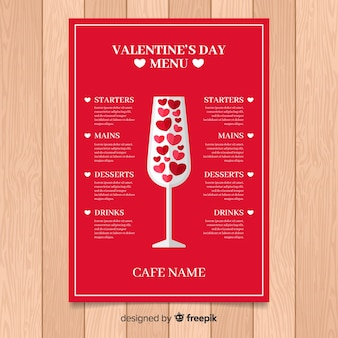 Flat glass valentine menu template