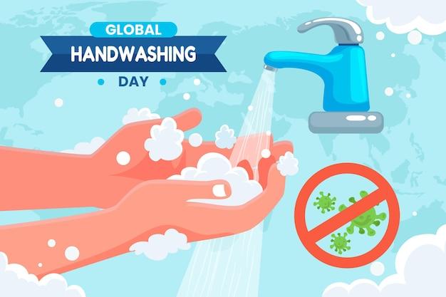 Flat global handwashing day background
