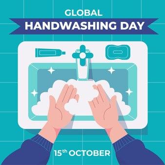Flat global handwashing day illustration
