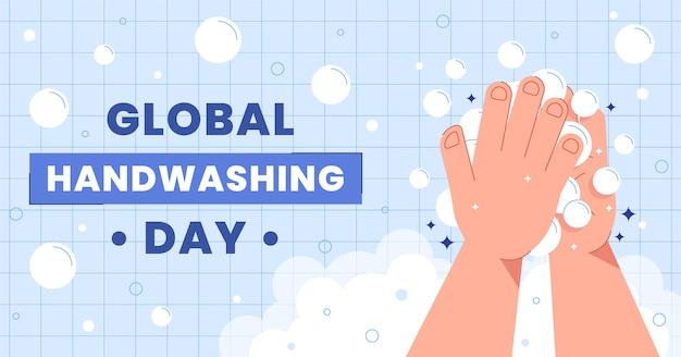 Modello di post sui social media per la giornata mondiale del lavaggio delle mani piatta