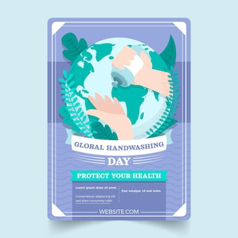 Flat global handwashing day vertical flyer template