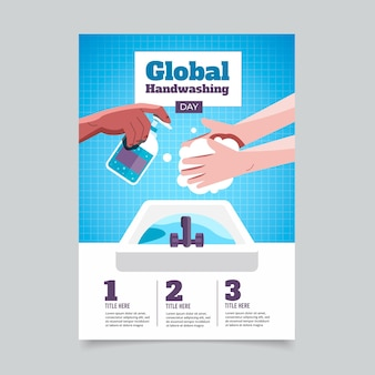 Flat global handwashing day vertical poster template