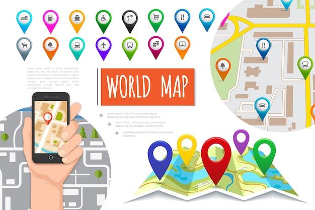 Плоская композиция системы глобального позиционирования с мужской рукой, держащей мобильный телефон с красочными указателями навигатора и навигационными картами