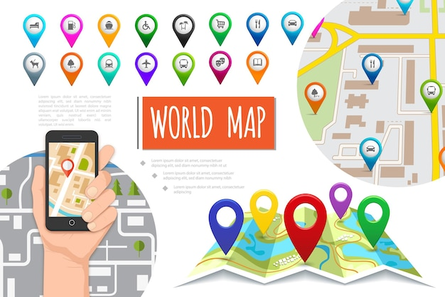 Flat global positioning system composition with male hand holding mobile with navigator colorful pointers and navigation maps