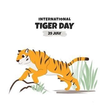 Плоский глобальный день тигра
