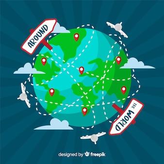 Flat globe travel background