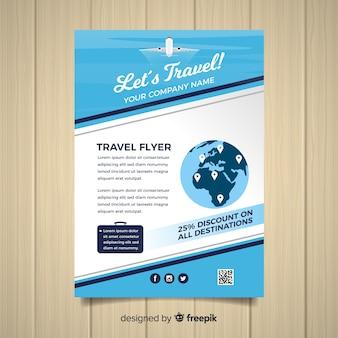 Flat globe travel flyer