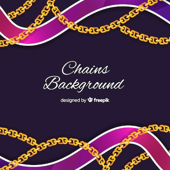Flat golden chains background