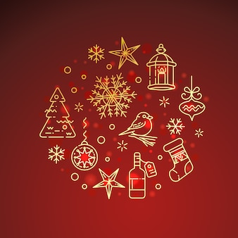 Flat golden christmas icon composition