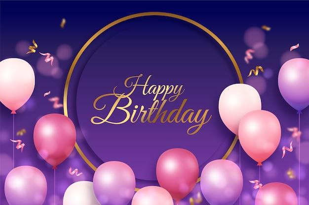 Cerchio dorato piatto e sfondo di palloncini compleanno