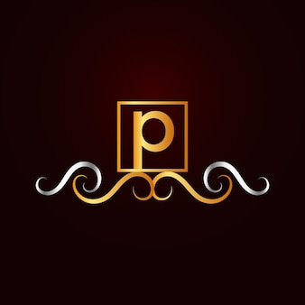 フラットゴールデンエレガントな装飾用pロゴテンプレート