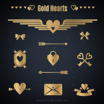 Flat golden heart collection