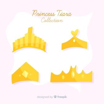 Flat golden princess tiara collection