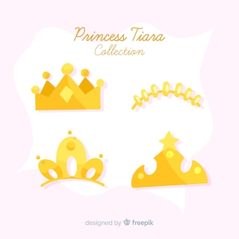 Flat golden princess tiara collection
