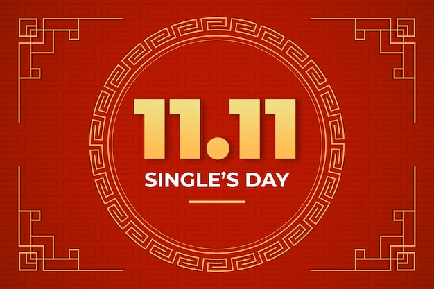 Flat golden and red single's day background