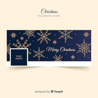 Flat golden snowflakes christmas facebook cover