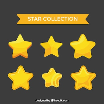 Flat golden stars collection