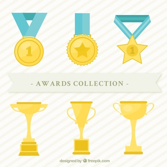 フラット黄金のトロフィーとメダルコレクション