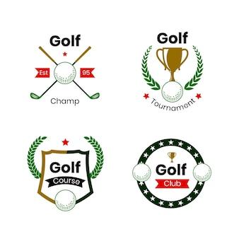 Collezione di logo di golf piatto