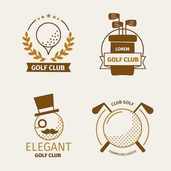 Плоская коллекция логотипов для гольфа