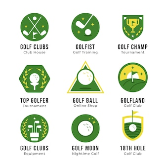 Flat golf logo collection