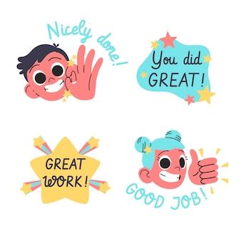 플랫 좋은 직업과 훌륭한 직업 스티커 팩