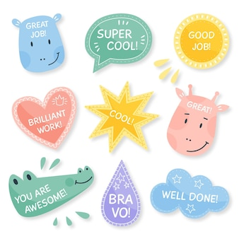Flat good job and great job stickers pack