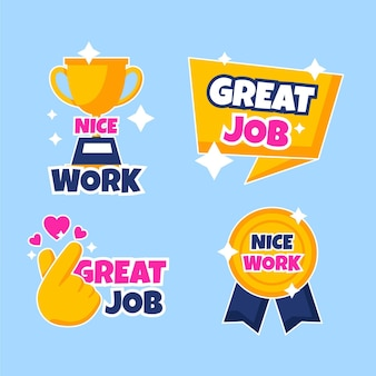 Flat good job and great job stickers